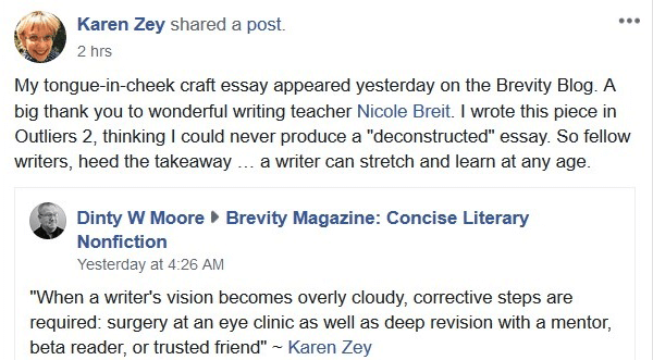 Visual story course student Karen Zey facebook post